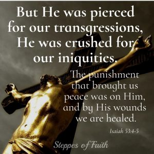 """But He was pierced for our trangressions, He was crushed for our iniquities. The punishment that brought us peace was on Him, and by His wounds we are healed."" Isaiah 53:4-5"