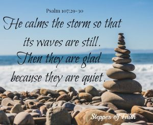 He calms the storm so that its waves are still.