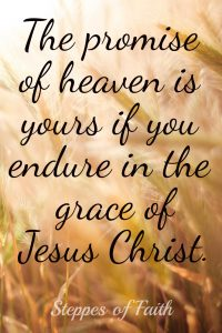 The promise of heaven is yours if you endure in the grace of Jesus Christ.