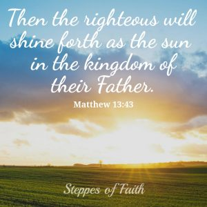 """Then the righteous will shine forth as the sun in the kingdom of their Father."" Matthew 13:43"