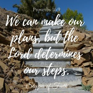 """We can make our plans, but the Lord determines our steps."" Proverbs 16:9"