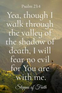 """Yea, though I walk through the valley of the shadow of death, I will fear no evil for You are with me."" Psalm 23:4"