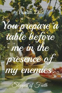 """You prepare a table before me in the presence of my enemies. You anoint my head with oil. My cup runs over."" Psalm 23:5"