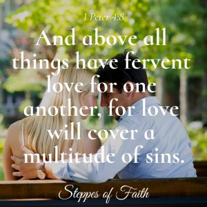 """And above all things have fervent love for one another, for love will cover a multitude of sins."" 1 Peter 4:8"