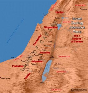 Where the seven tribes of Canaan were located.