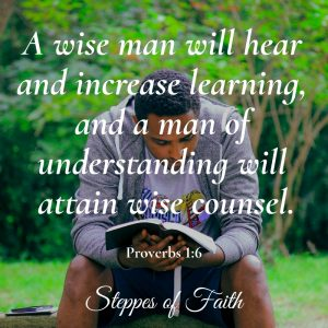 A wise man will hear and increase learning, and a man of understanding will attain wise counsel. Proverbs 1:6