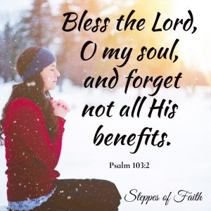"""Bless the Lord, O my soul, and forget not all His benefits."" Psalm 103:2 The Lord is constantly blessing us if we would only take the time to see it."