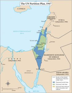 The UN Partition Plan of 1947 officially recognizing Israel as a nation.