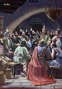 The evidence of the Holy Spirit's presence on the Day of Pentecost was flames hovering over the disciples' heads.