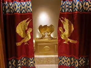 The sacred veil inside the Holy of Holies was made of linen with scarlet, blue, purple, and white threads with cherubim embroidered into it.