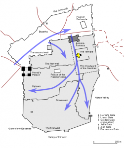A map of the route the Romans took when they invaded Jerusalem.