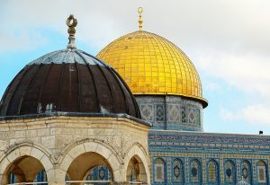 The Dome of the Rock and the Al Aqsa mosque both sit on the Temple Mount.