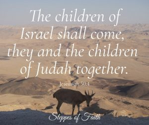 "'The children of Israel shall come, they and the children of Judah together."" Jeremiah 50:4"