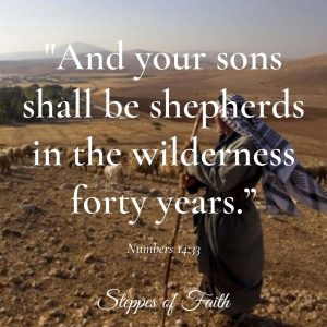 """And your sons shall be shepherds in the wilderness forty years."" Numbers 14:33"