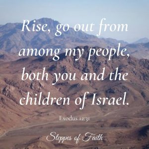 """Rise, go out from among my people, both you and the children of Israel."" Exodus 12:31"
