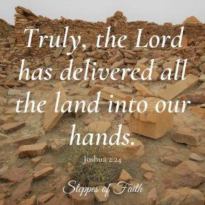 """""""Truly, the Lord has delivered all the land into our hands."""" Joshua 2:24"""