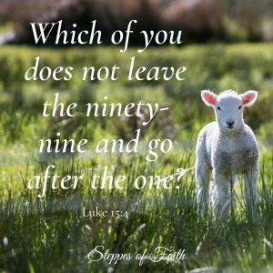 """""""Which of you does not leave the ninety-nine and go after the one?"""" Luke 15:4"""