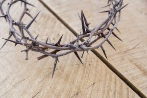 The Romans forced a crown of thorns into Jesus' head before He went to the cross.