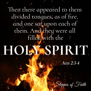 """""""Then there appeared to them divided tongues, as of fire, and one sat upon each of them. And they were all filled with the Holy Spirit and began to speak with other tongues as the Spirit gave them utterance."""" Acts 2:3-4"""