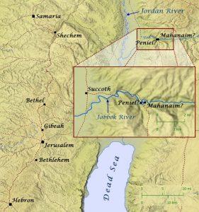 Map of Peniel where Jacob struggled with God.