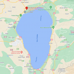 Map of the Sea of Galilee with the Church of Beatitudes on the northwest shore.