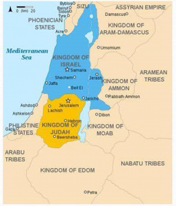 Map of the twelve tribes of Israel before they were split into two kingdoms.