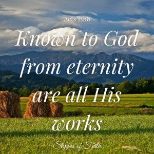 """""""Known to God from eternity are all His works."""" Acts 15:18"""